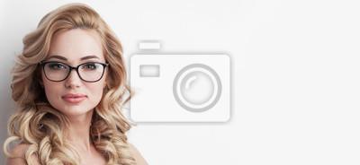 Naklejka Blonde woman with glasses