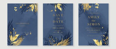 Naklejka Blue and navy indigo floral and gold watercolor wedding invitation vector set. Luxury background and template layout design for invite card, luxury invitation card and cover template.