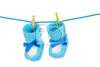 Naklejka blue baby botki niebieski samodzielnie na białym tle
