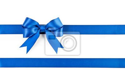 Naklejka Blue bow and ribbon isolated on white background.