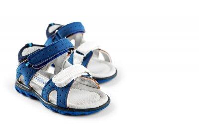 Naklejka Blue Children's shoes sandals. Isolated on white.