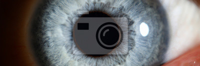 Naklejka Blue eye male human super macro closeup. Healthy vision test concept