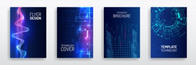 Naklejka Blue layout futuristic brochures, flyers, placards. Contemporary science and digital technology concept. Vector template for brochure or cover with hi-tech elements background.