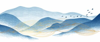 Naklejka Blue mountain and golden line arts background vector. Oriental Luxury landscape background design with watercolor brush and gold line texture. Wallpaper design, Wall art for home decor and prints.
