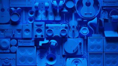Naklejka Blue Musical Instrument Wall 3d illustration