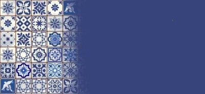 Naklejka Blue Portuguese tiles banner - Azulejos fashion interior design tiles, banner template