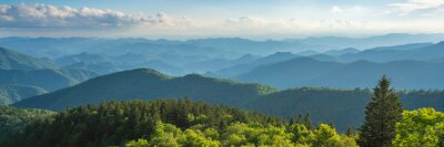 Naklejka Blue Ridge Parkway summer Landscape. Beautiful mountain panorama with green mountains and layers of  hills. Near Asheville, North Carolina. Image for web header or banner.