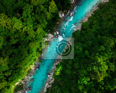 Naklejka Blue river flowing in forest at spring