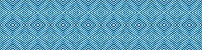Naklejka Blue Seamless Border Scroll. Geometric Watercolor
