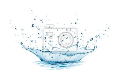 Naklejka Blue water splash and drops isolated on white background.