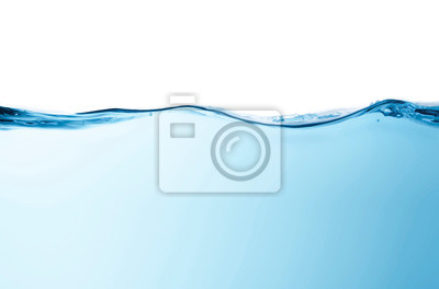 Naklejka Blue water splashs wave surface with bubbles of air on white background.