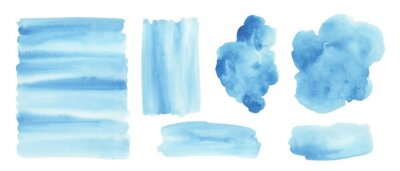 Naklejka Blue watercolor background. Set of watercolor stains for design.