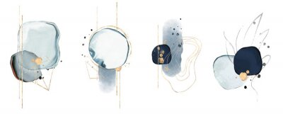 Naklejka blue watercolor Illustration and gold,  isolated on white background. Abstract modern  print. logo