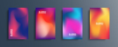 Naklejka Blurred backgrounds set with modern abstract blurred color gradient patterns. Smooth templates collection for brochures, posters, banners, flyers and cards. Vector illustration.