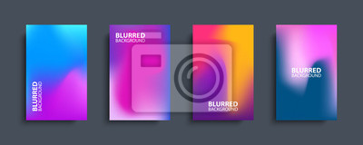 Naklejka Blurred backgrounds set with modern abstract blurred color gradient patterns. Templates collection for brochures, posters, banners, flyers and cards. Vector illustration.