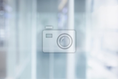 Naklejka Blurred white abstract glass wall from modern building