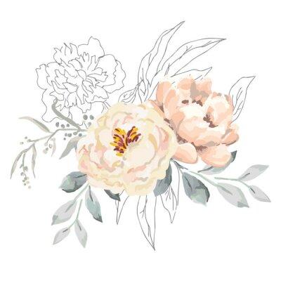 Naklejka Blush kremowe kwiaty piwonii i szare liście z elementami graficznymi. Ilustracja wektorowa na białym tle. Kwiatowy bukiet. Projekt karty z pozdrowieniami. Tło zaproszenia. Botaniczny kwiat