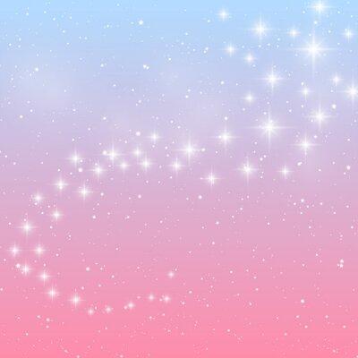 Naklejka Błyszczące gwiazdy na niebieskim i różowym tle