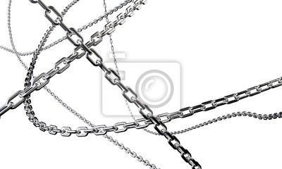 Naklejka Błyszczące łańcuchy są splecione na białym tle. 3d odpłacają się tło.