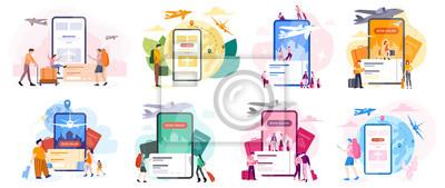 Naklejka Book flight online concept. Idea of travel and tourism. Planning