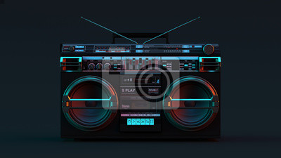 Naklejka Boombox Moody 80s lighting 3d illustration