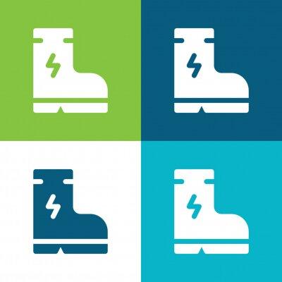 Naklejka Boot Flat four color minimal icon set