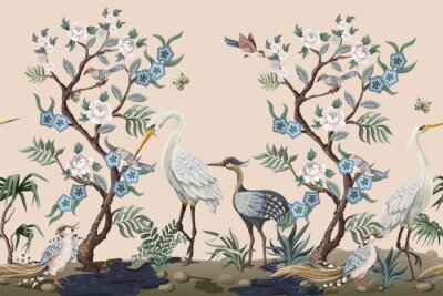 Naklejka Border in chinoiserie style with herons and peonies. Vector.