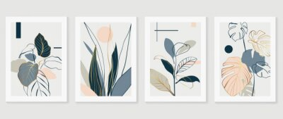 Naklejka Botanical and gold abstract wall arts vector collection.  Golden and luxury pattern design with Tropical leaves line arts, Hand draw Organic shape design for wall framed prints, cover and poster.