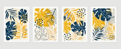 Naklejka Botanical wall art vector set. Earth tone background foliage line art drawing with abstract shape and watercolor. Design for wall framed prints, canvas prints, poster, home decor, cover, wallpaper