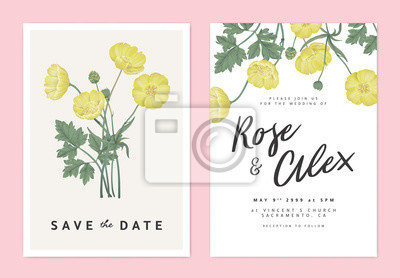 Naklejka Botanical wedding invitation card template design, yellow creeping buttercup flowers bouquet, pastel vintage theme