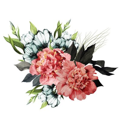 Naklejka Bouquet of peonies and eustoma