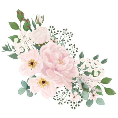 Naklejka Bouquet with  flowers, watercolor. Vector illustration. EPS 10