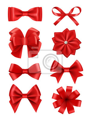 Naklejka Bow realistic. Ribbons for decoration hair bow celebration party items vector collection. Illustration of red bow ribbon, satin silk tie