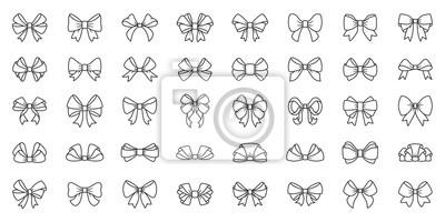 Naklejka Bow ribbon gift box decor tie line icon vector set