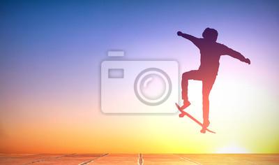 Naklejka boy with skateboard