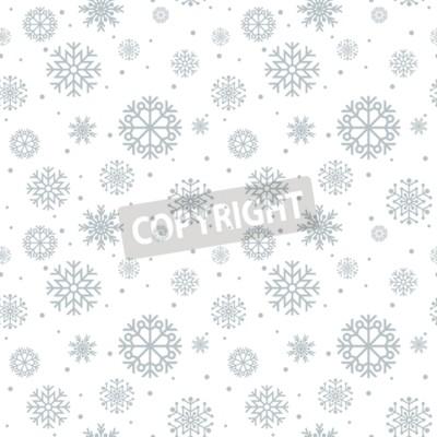 Naklejka Boże Narodzenie bez szwu. Niebieskie tło z płatki śniegu.