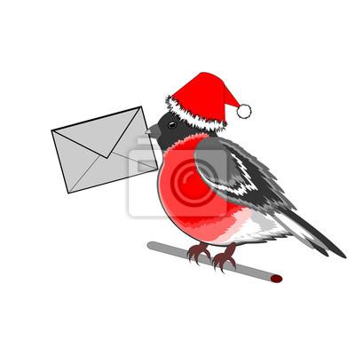 Boże Narodzenie gil z listem w dziobie