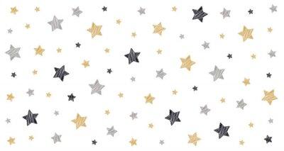 Naklejka Boże Narodzenie gwiazdki kulas rysunek karty biały na białym tle