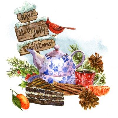 Naklejka Boże Narodzenie karty z pozdrowieniami z akwareli słodki deser