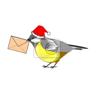 Boże Narodzenie sikorki z listem w dziobie