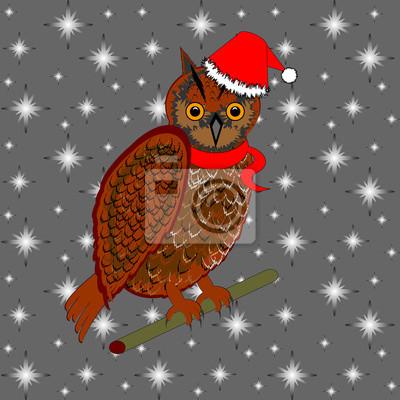 Naklejka Boże Narodzenie sowa na tle śnieg
