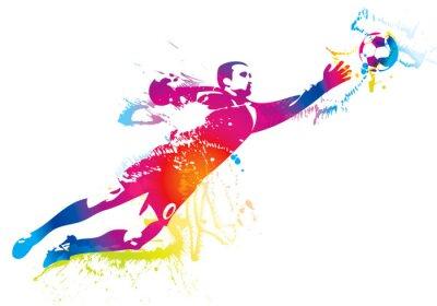 Naklejka Bramkarz piłkarski łapie piłkę