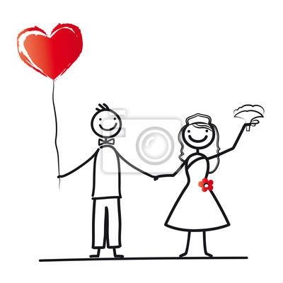 Naklejka Brautpaar mit Herzluftballon