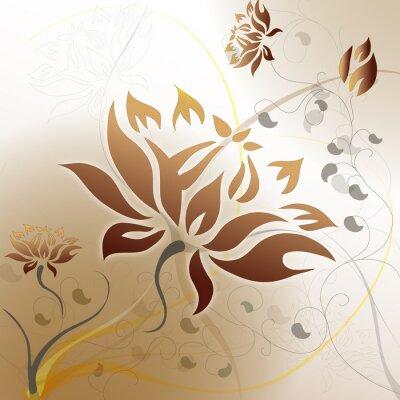 Naklejka Brązowy motyw kwiatowy