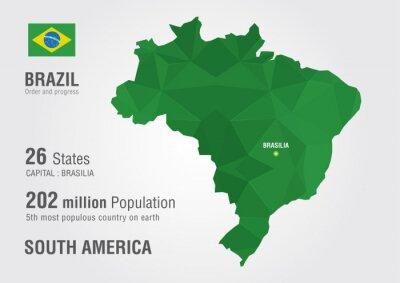 Naklejka Brazylia mapa świata z pikseli diamentu tekstur.