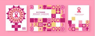 Naklejka Breast Cancer awareness pink ribbon mosaic set