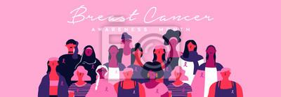 Naklejka Breast cancer month banner of diverse pink women