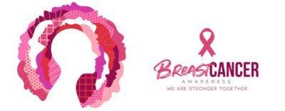 Naklejka Breast cancer month diverse pink women together