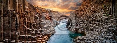 Naklejka Breathtaking view of Studlagil basalt canyon, Iceland, Europe.