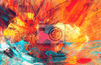 Naklejka Bright artistic splashes. Abstract painting color texture. Modern futuristic pattern. Blue, red and yellow dynamic background. Fractal artwork for creative graphic design